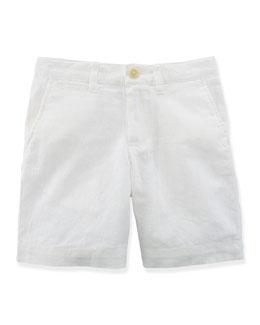 Linen-Blend Roundhill Shorts, White, Size 2-7
