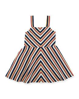 Striped A-Line Jersey Dress, Beige/Multicolor, Size 2T-6X