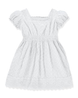 Embroidered Cotton Voile Dress, White, Size 2T-6X