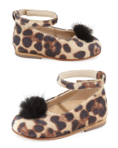 Leopard-Print Faux-Fur Ballet Flat, Tan, Toddler