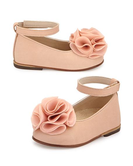 Leather Floral-Trim Ballet Flat, Salmon, Toddler