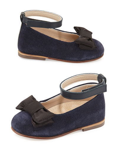 Suede Satin-Trim Ballet Flat, Blue, Toddler