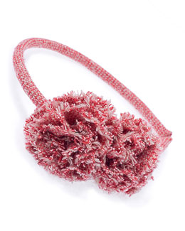 Tweed Pom-Pom Headband, Red/White