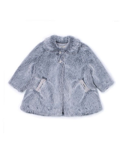 Faux-Fur Two-Button Coat, Gray, Size 3-6