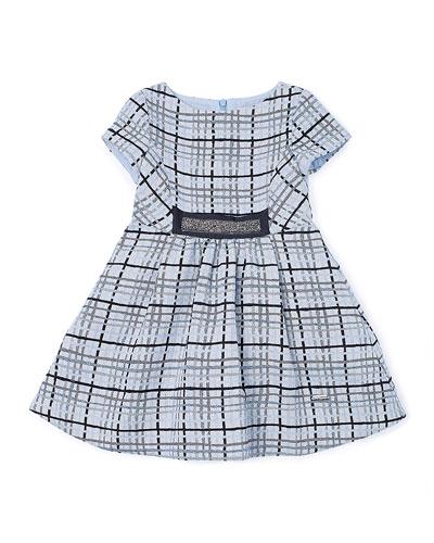 Short-Sleeve Plaid A-Line Dress, Blue, Size 2-6
