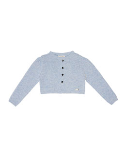 Knit Button-Front Cardigan, Blue, Size 2-6