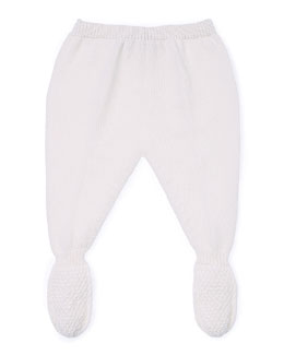 Knit Footed Leggings, Ivory, Size Newborn-6 Months