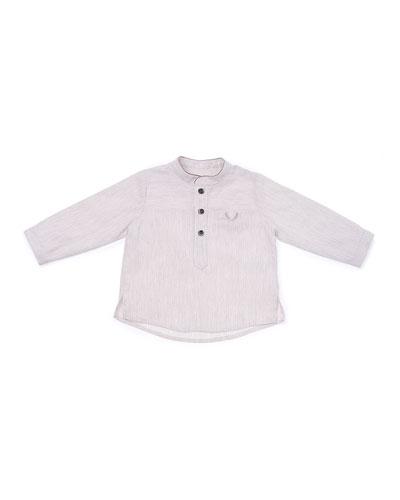 Woven Striped Poplin Shirt, Tan, Size 6-18 Months