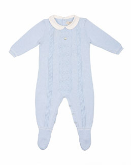 Collared Cable-Knit Footie Pajamas, Blue, Size Newborn-6 Months