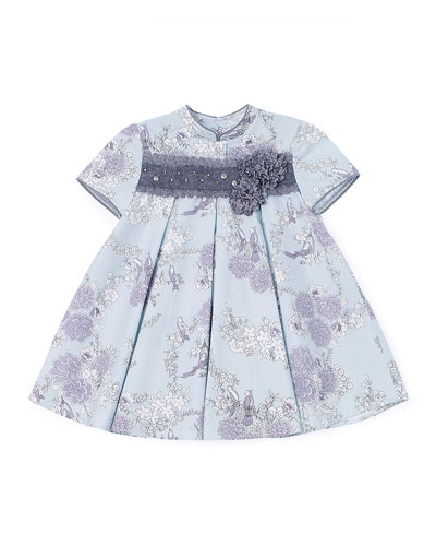 Pleated Floral Lace-Trim Dress, Blue, Size 12M-3