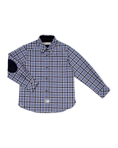 Plaid Poplin Shirt w/ Elbow Patches, Navy, Size 2-6