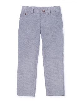 Straight-Leg Fine-Wale Corduroy Pants, Gray, Size 2-6
