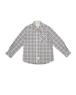 Long-Sleeve Plaid Poplin Shirt, Gray/Blue, Size 2-6