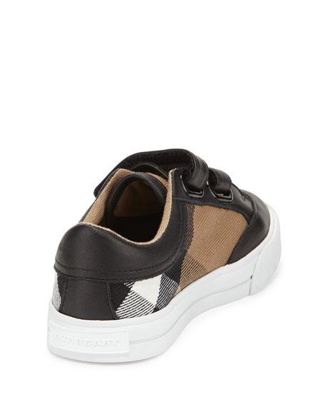 Heacham Mini Check Leather-Trim Sneaker, Black/Tan, Toddler