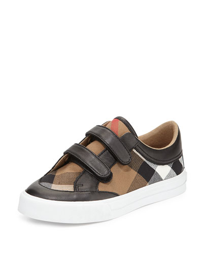 Heacham Mini Check Leather-Trim Sneaker, Black/Tan, Youth