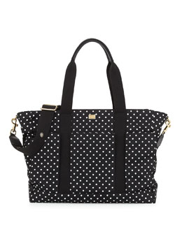 Polka Dot Nylon Diaper Bag, Black/White
