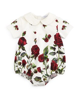 Short-Sleeve Rose-Print Playsuit, White/Red, Girls' Size 6-24 Months