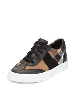 Longsley Check Low-Top Sneaker, Black/Tan, Youth