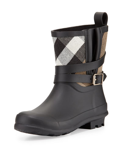 Holloway Mini Check Rubber Rainboot, Black, Youth