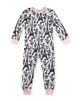 Eiffel Tower Pajama Shirt & Pants, White/Black/Pink, Size 2T-8
