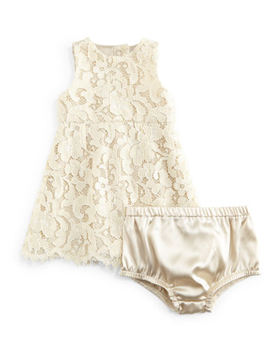 Sleeveless Lace Dress & Bloomers, Ivory, Girls' 9-30 Months