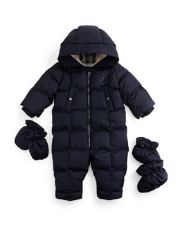 Skylar Quilted Down Snowsuit, Navy, Size 3-18 Months