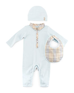 Carlos Boxed Playsuit, Hat & Bib Set, Light Blue, 3-24 Months