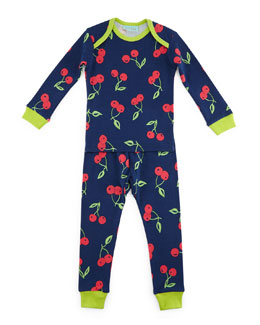 Cherry Pick Pajama Shirt & Pants, Navy, Size 3-24 Months