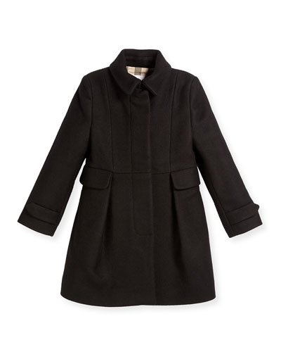 Naomi Wool-Blend Coat, Black, Size 4Y-14Y