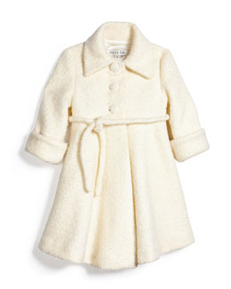 Fit-and-Flare Bouclé Peacoat, Ivory, Size 18M-3T