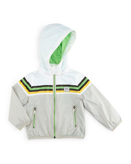 Hooded Nylon Jacket w/ Contrast Trim, Gray/Multicolor, Size 2-8
