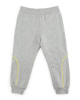 Terry-Lined Track Pants, Gray/Green, Size 2-8