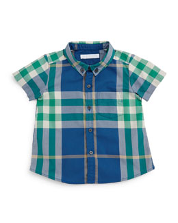 Fred Mini Short-Sleeve Check Shirt, Marine Blue, Size 3M-3Y