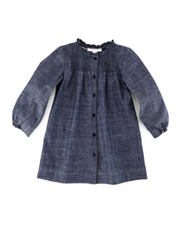 Marissa Pleated Button-Front Shift Dress, Indigo, Size 3M-3Y