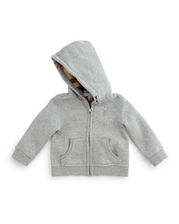 Hooded Pearce Sweatshirt, Pale Gray Melange, Size 3M-3Y