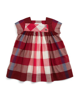 Paisley Check Cap-Sleeve Shift Dress, Deep Burgundy, Size 3M-3Y