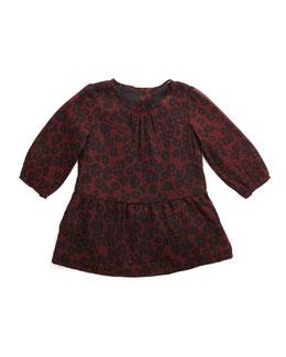Tais Leopard-Print Silk Dress, Claret, Size 3M-3Y