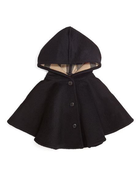 Rosa Button-Front Wool Poncho, Black, Youth