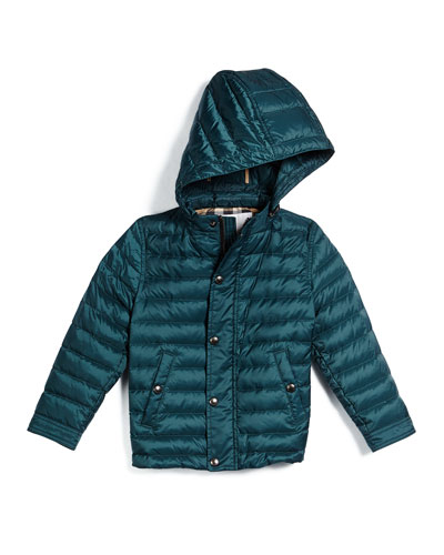 Mini Dawes Puffer Jacket, Teal, Size 4-14