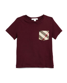 Short-Sleeve Check-Pocket Jersey Tee, Burgundy, Size 4-14