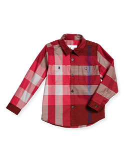 Mini Camber Check Shirt, Deep Burgundy, Size 4-14