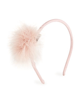 Satin Feather-Trim Headband, Pink