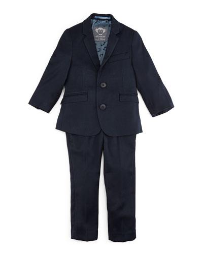 Narrow-Lapel Jacket & Pants Set, Navy, Size 2T-14