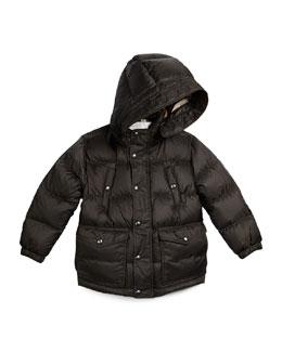 Barnie Check-Lined Puffer Jacket, Flint, Size 4Y-14Y
