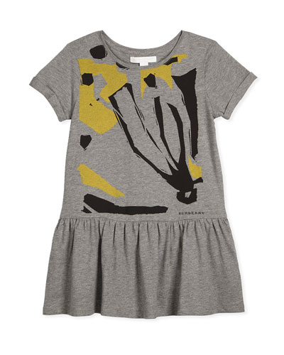 Dollie Graphic Jersey Dress, Gray/Yellow, Size 4Y-14Y