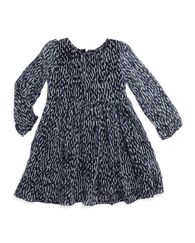Hattie Printed Silk Dress, Navy, Size 4-14