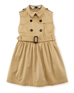 Sleeveless Trench Dress, Amber, Girls' 4-14