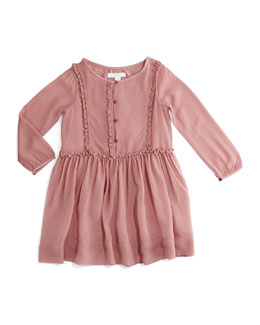 Sandra Silk Ruffle-Trim Dress, Antique Rose, Size 4-14