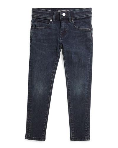 Faded Skinny Jeans, Dark Indigo, Size 4-14