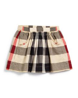 Kayly Check-Print Skirt, Taupe, Size 4-14